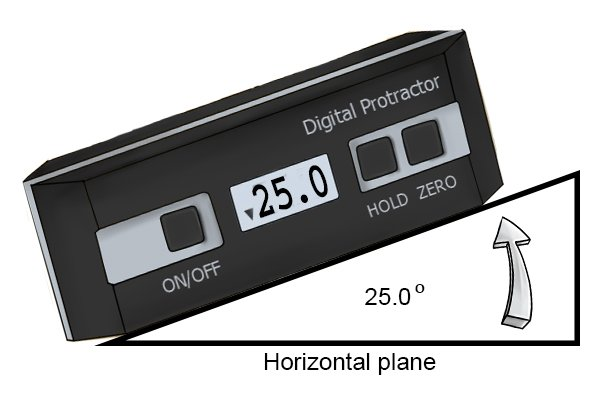 A digital protractor/angle gauge on a 25 degree surface before resetting the reference point to zero