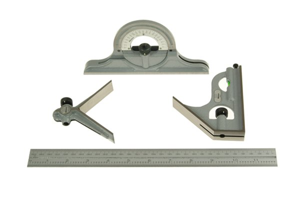 A combination square set, satin chrome finish, square head, centre head, protractor head, rule, ruler, blade