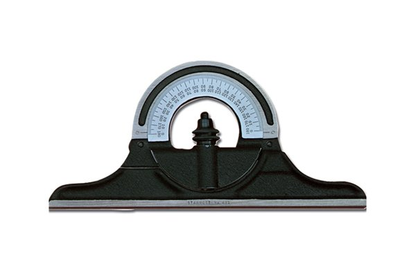 A black Starrett protractor head; combination square set