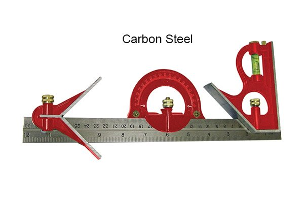 A representation of the fact that combination square sets can have carbon steel rules; square head, centre head, protractor head, rule, ruler, blade