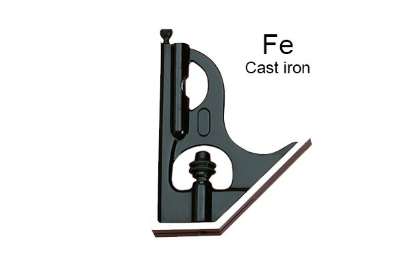A representation of the fact that combination square sets can have cast iron heads; combination square set