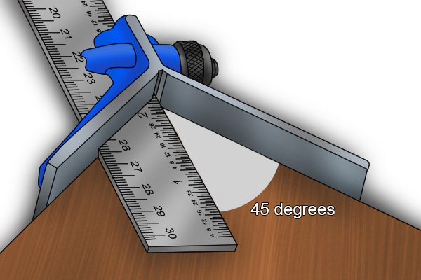 The centre head on the rule, labelled with a 45 degree angle from the edge of the rule to the arm; combination square set, ruler, blade
