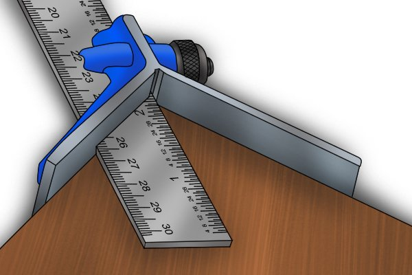 A centre head measuring a 45 degree angle from the corner of a piece of wood; combination square set, rule, ruler, blade
