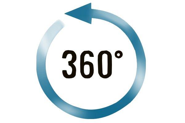 """360 degrees"" with a blue arrow looping around in a clockwise direction; angles, 360 degrees, protractors;"