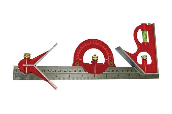 A red Faithfull combination square set; rule, ruler, blade, square head, centre head, protractor head