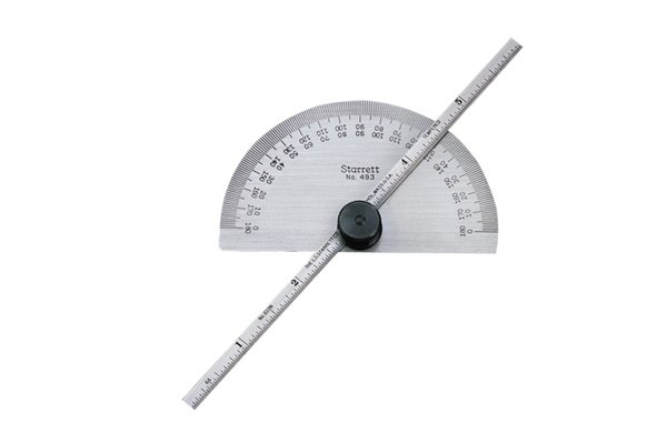 A protractor and depth gauge; angles, protractor