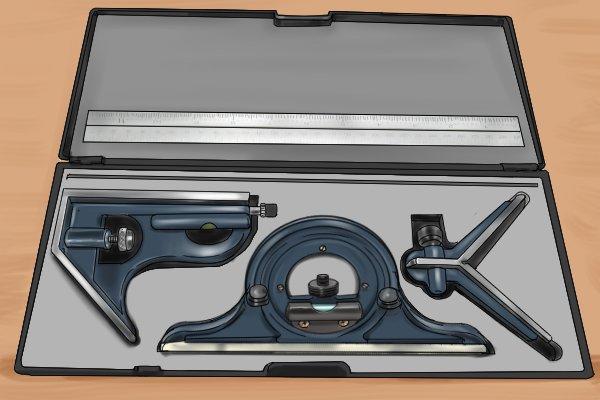 Combination square set storage case; square head, centre head, protractor head, rule, ruler, blade