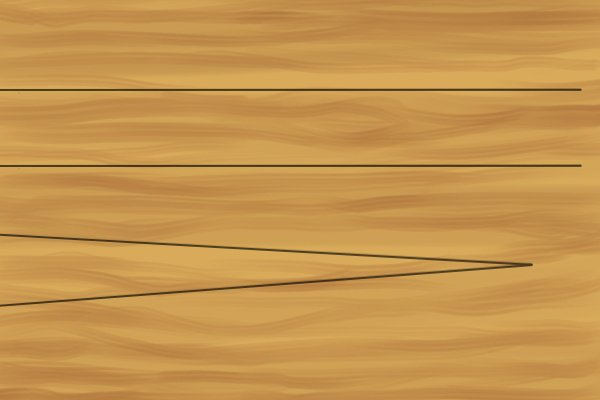 Parallel lines (left) vs. non parallel lines (right); combination square, rule, ruler, blade