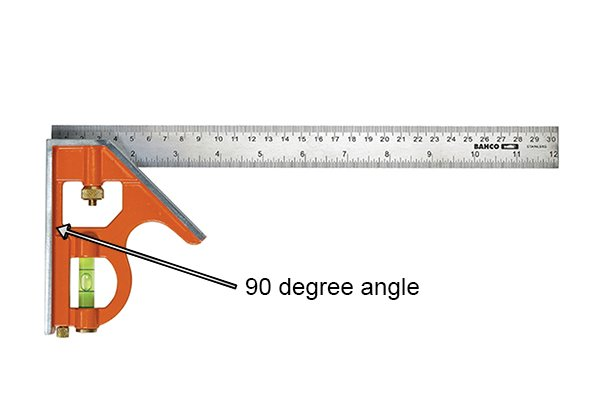 The square head with the 90 degree angle labelled; combination square, rule, ruler, blade, Bahco