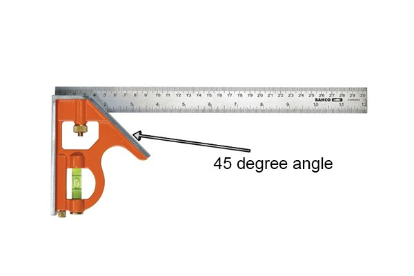 Square head with the 45 degree angle labelled; combination square, rule, ruler, blade, Bahco