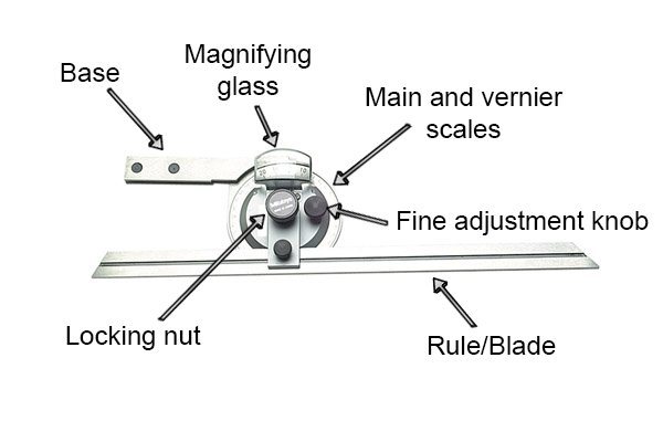 Clockwise from top left: Base, Magnifying glass, Main and vernier scales, Fine adjustment knob, Rule/Blade, Locking nut, Mitutoyo