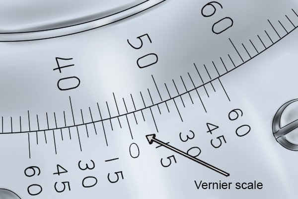 """The """"Vernier scale"""" on a bevel protractor"""