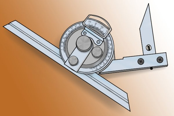 Bevel protractor with acute angle attachment