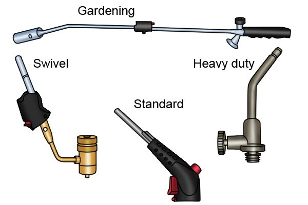 Types of blow lamp: standard, heavy duty, swivel and gardening