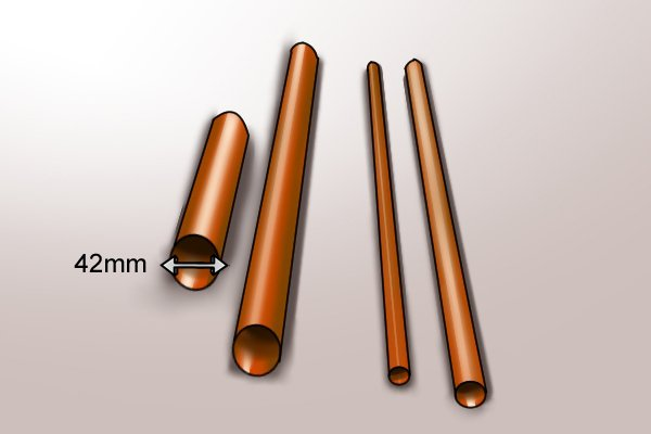 42mm copper pipe which can be soldered by a full flame burner attached to a blow lamp