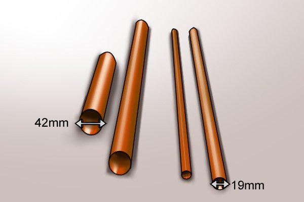 42mm and 19mm copper pipes