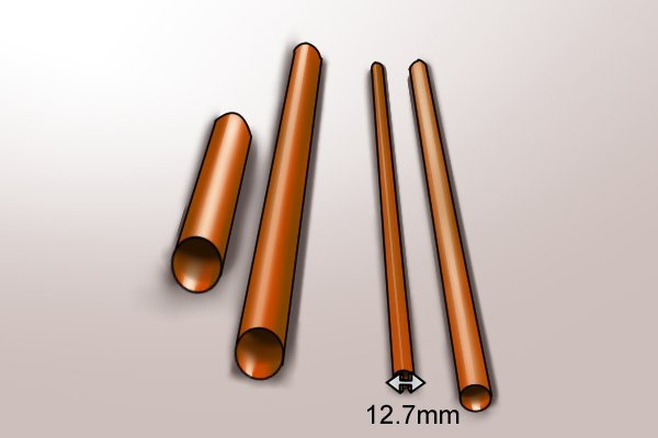 12.7mm copper pipe with a selection of other pipe diameters