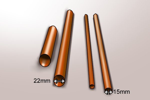 15mm and 22mm copper pipes which can be soldered by a medium burner on a blow lamp