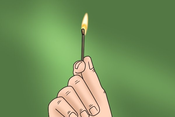 A lit matchstick with flame