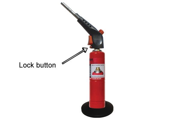Standard blow lamp lock button