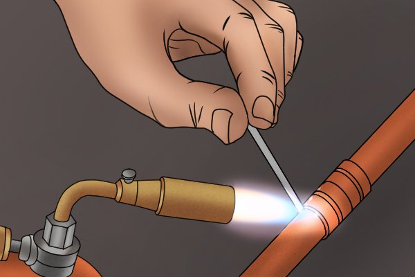 Soldering with a soft soldering blow lamp