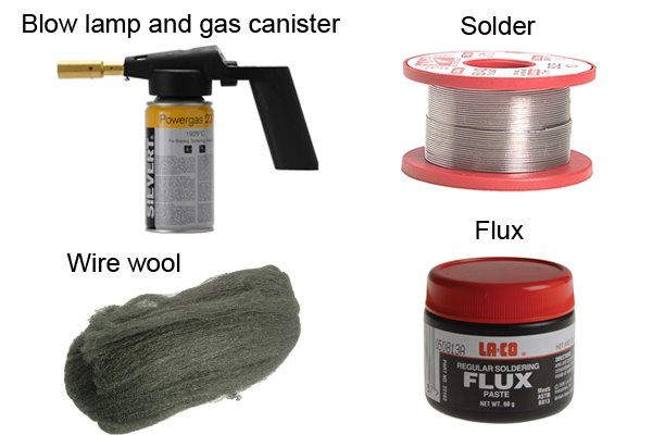 Things needed to solder two copper pipes together: blow lamp, gas canister, solder, flux, and steel wool