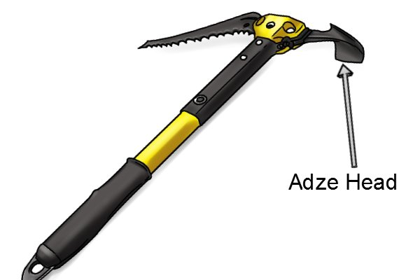 Image of an ice axe showing the location of the adze head attachment