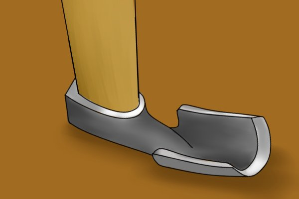 Image of a lipped adze blade to illustrate sweep