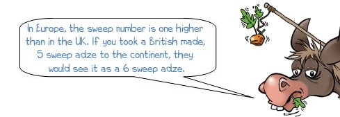 Wonkee Donkee explains that sweep numbers are one higher in Europe than they are in the UK for equivalent shaped adzes
