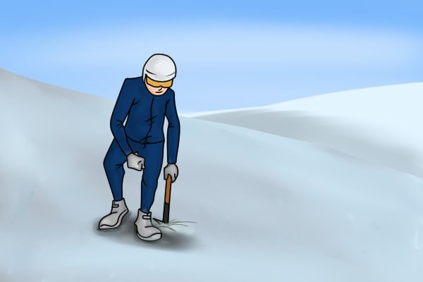 Image of a mountaineer demonstrating the correct stance for cutting steps in ice with an adze as you travel downhill