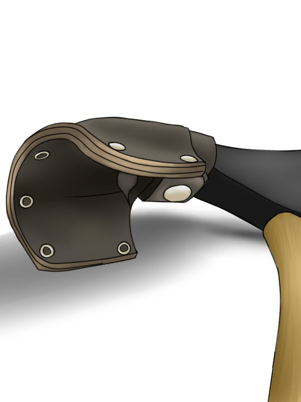 Image showing a leather sheath that protects an adze blade and keeps it sharp