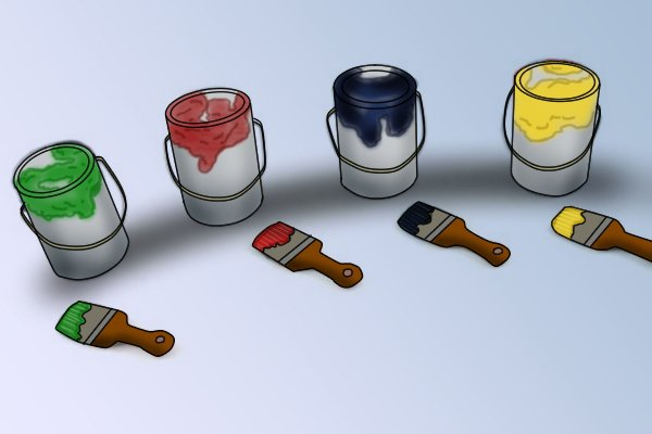 Image of a selection of different coloured paint pots