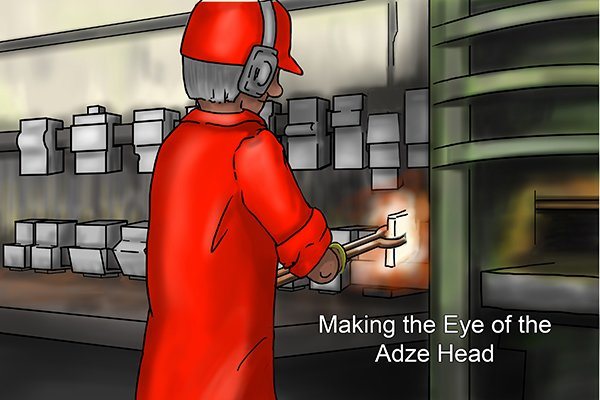 Image of a blacksmith making an eye in the head of the adze using a power hammer and a steel rod