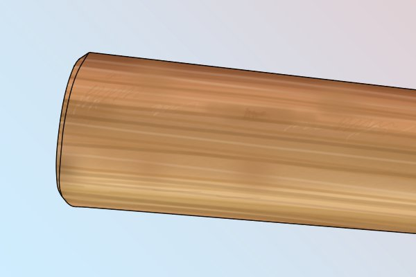 Image of a hickory adze handle