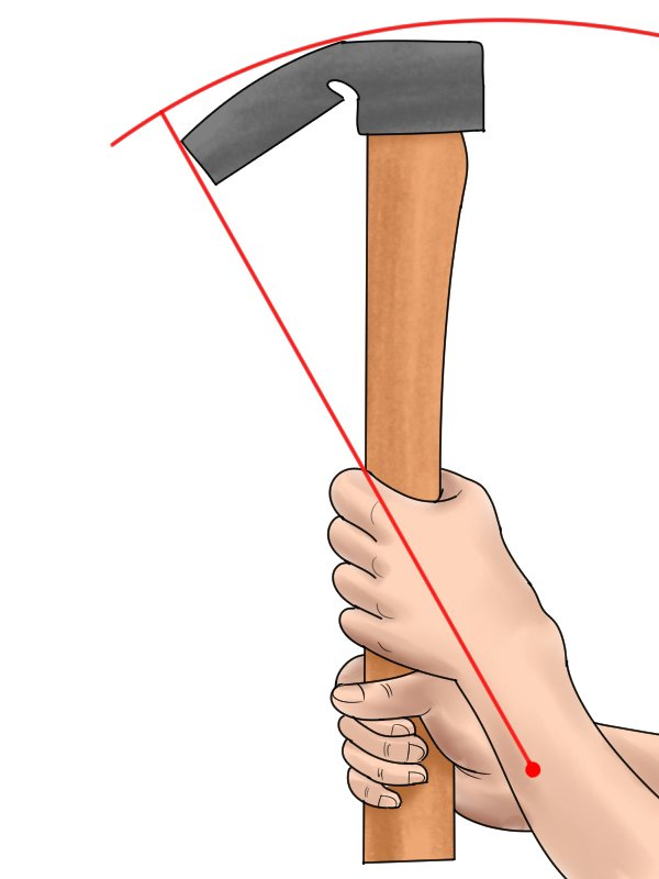 Image of an adze with a cutting edge that does not follow the radius of the swing