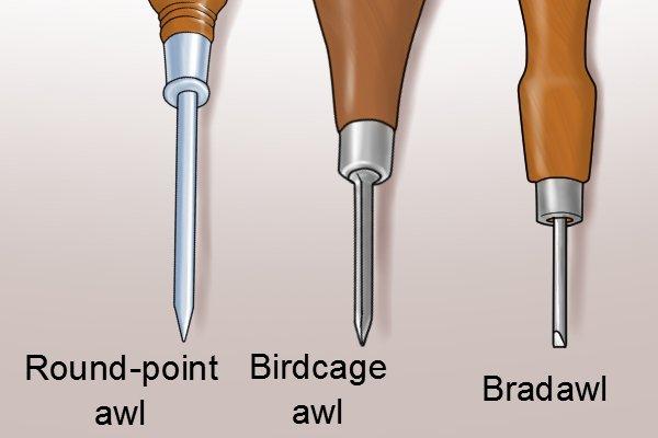 birdcage awl, round-point awl, bradawl