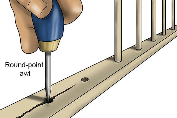 round-point awl causing splits