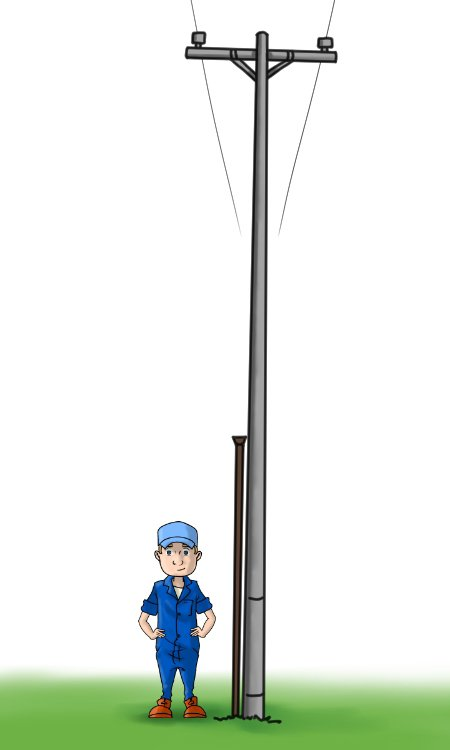 A telegraph digger bar's length in comparison to a human and a telegraph pole