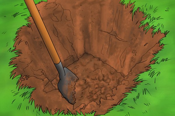 Man Shovelling Loose Dirt with a Spade