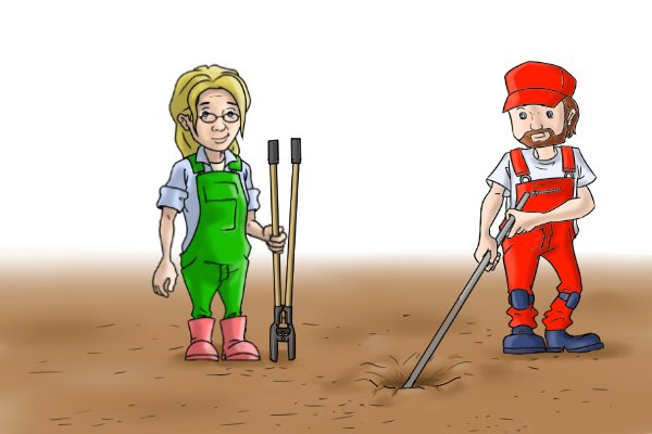 Digging with a bar and a posthole digger