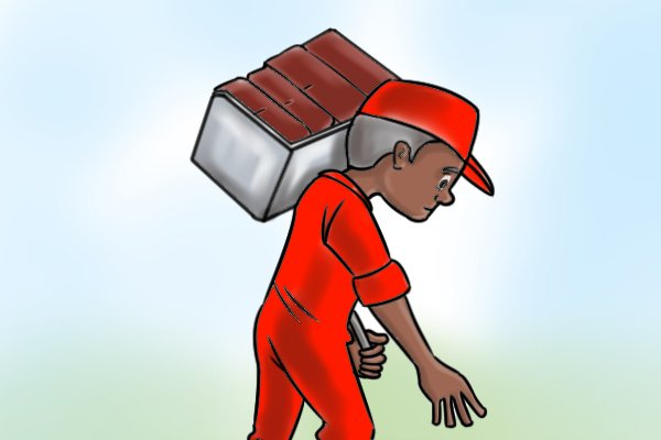 A workman carrying a number of bricks with a brick hod