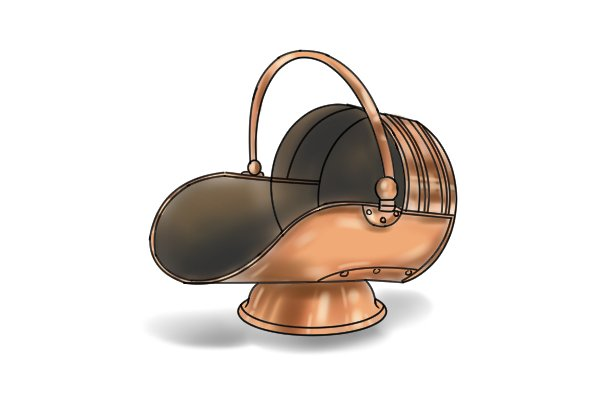 copper coal scuttle also known as a hod