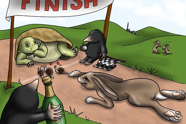 19th century illustration showing the tortoise crossing the finish line ahead of the hare, with a mole officiating
