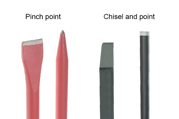 A pinch point crowbar or chisel and point crowbar may be useful when penetrating tight spaces