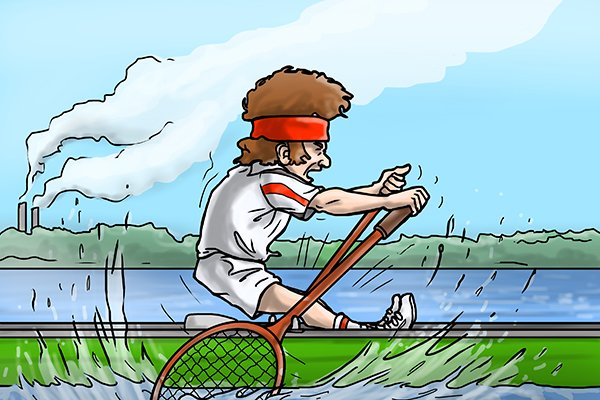 Image of Wonkee Donkee in a canoe, thinking of John McEnroe
