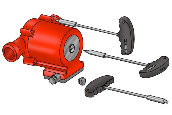 Image showing the various different applications of a boiler pump multitool