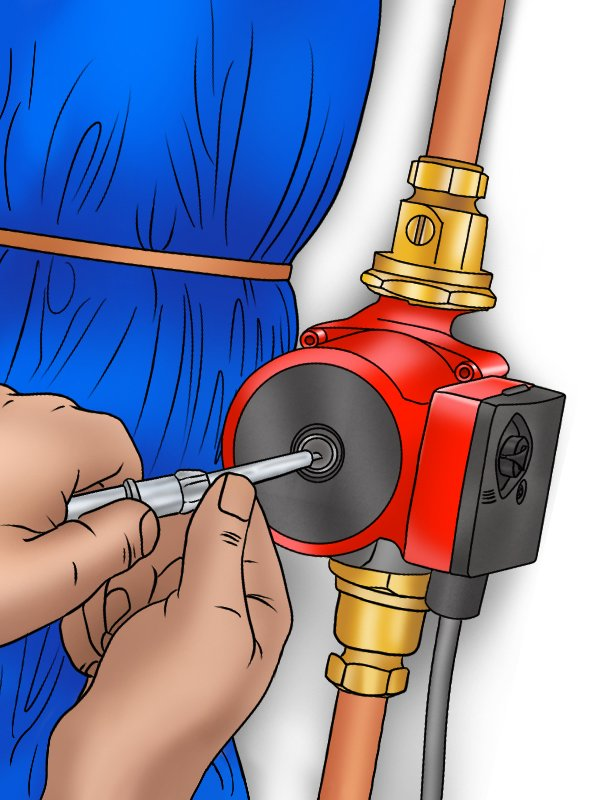 Image of a DIYer bleeding a boiler pump by turning the bleed screw cover plate
