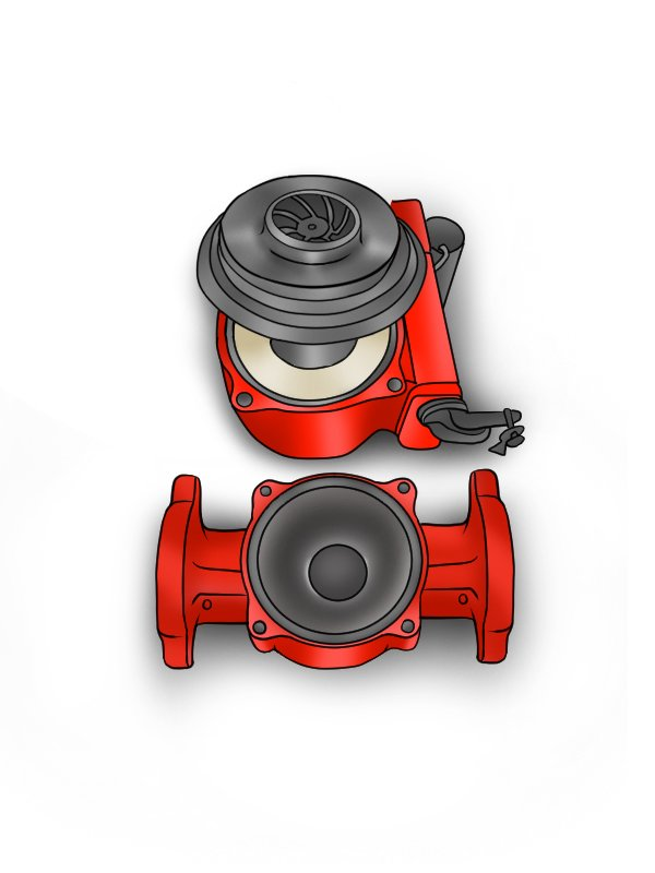 Image showing a boiler pump that has had its retaining bolts removed and its head separated