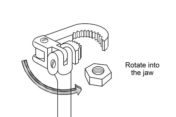 Adjustable basin wrench rotate into the jaw, how to use a, wonkee donkee tools DIY guide