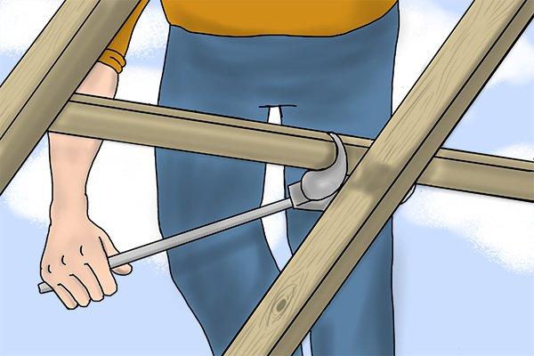 Using a batten lifter as a lever to lift a batten on a roof